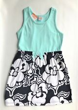 Gymboree Mix N Match Tank Dress Aqua Navy Floral Ribbon Bow Sz XS ( 4 ) NWT