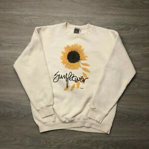 Vintage Sunflower Sweatshirt Mens Medium White Crew Neck Big Graphic Maze