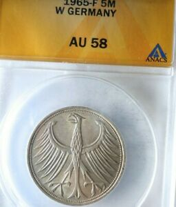 1965 F GERMANY 5 MARKS - AU 58 - ANACS - Excellent Silver Coin - lot #J21