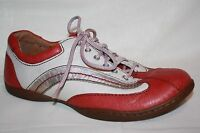 BORN RED OFF WHITE SILVER LACE UP CASUAL OXFORD SNEAKER SHOES WOMENS SZ 7.5 M