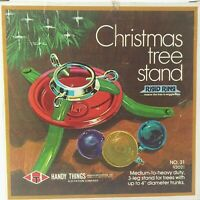 Christmas Tree Stand 3 Legs Handy Things Red Green with original box VINTAGE