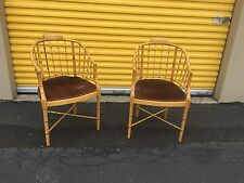 PAIR Baker Furniture Regency Bamboo Tub Chairs Hollywood Regency MCM