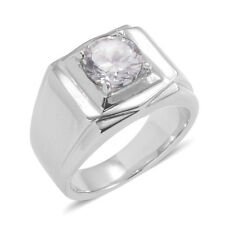 RING MEN'S UNISEX SIMULATED DIAMOND SIGNET STAINLESS STEEL RING SIZE 6 TCW 3.46
