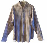 Peter Millar Mens Plaid Long Sleeve Nylon/Spandex Button Up Dress Shirt Size XL