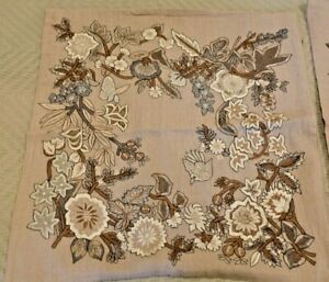 """Sferra - Pair of  18"""" Square Embroidered Floral Linen Pillow Covers"""