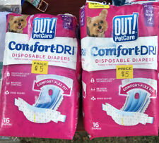 "OUT! 2x 16 pkg DISPOSABLE DOG DIAPERS XS-S 13-18"" WAIST 4-25lbs"