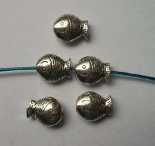 30pcs Tibetan silver fish charms spacer bead 12x9.5x5 mm