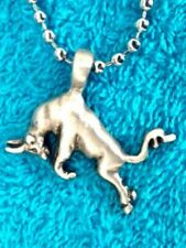 Raging Bull pewter pendant 30mm boys girls on silver colour ball chain Pc0628