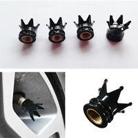 4 PCS Car Bicycle Motorcycle Chrome Crown Tyre Tire Wheel Stem Air Valve Cap New