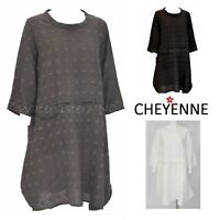 CHEYENNE  LT0859  Textured Linen  HEXI-DOT TUNIC  Top  S/M  L/XL  2018 3 Colors
