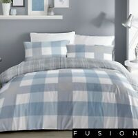 Fusion Check Duvet Cover Bedding Set Blue White Grey Single Double King Size