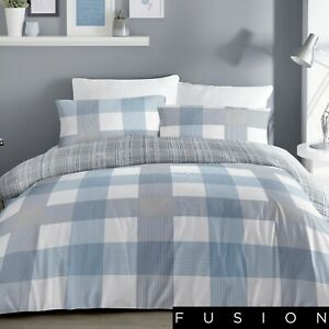 Fusion Check Duvet Cover Bedding Set Blue White Grey Single Double King Size