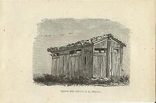 Stampa antica LECCO CASOTTO di CACCIA di ALESSANDRO MANZONI 1874 Old print