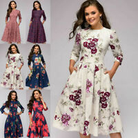 Women's Retro Tunic 3/4 Long Sleeved Floral Print Bodycon Dresses Vintage Dress