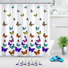 Colorful Painting Various Butterflies Fabric Shower Curtain Set Bathroom Decor