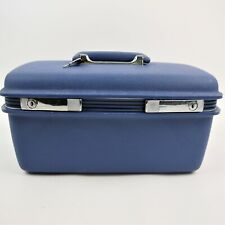 Vintage Samsonite Concord Train Case Blue Keys, Make-up Tray and Mirror -Clean