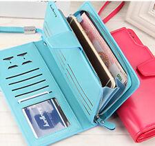 Women fashion Leather Clutch Wallet Long Zipper Purse High Capacity Handbag Blue