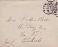 1897 QV LEWISHAM COVER WITH A GOOD 1d LILAC STAMP SENT TO BLACKEATH