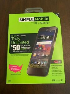 """Simple Mobile ZTE ZFive 2 4G LTE 8GB 5"""" Touchscreen Prepaid Phone New Sealed"""