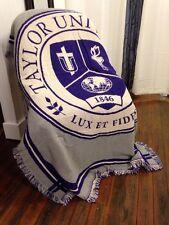 Taylor University Seal Trojans Jacquard Woven Cotton Stadium Afghan Blanket RARE