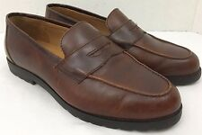 LL Bean Penny Loafer Flats Shoes Dark Brown Leather Rubber Sole Size 8.5 Wide