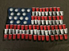 Beer Pong~Red/White Cups~US Flag~Patriotic~ T-Shirt ~Gray Crewneck Tee~2XL