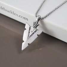 Vintage Silver Alloy Native American Arrow Head Pendant Stainless Steel Necklace