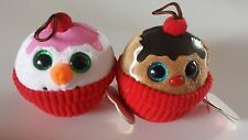 NWT Set of 2 Christmas Holiday Ty Baby Beanies Ball Ornament Flakes & Coco