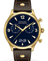 Movado Heritage Calendoplan Chronograph Navy Dial Leather Men's Watch 3650030 SD