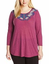 LUCKY BRAND DAHLIA MANDALA MULTICOLOR GRAPHIC 3/4 SLEEVE TOP TEE PLUS Sz 1X