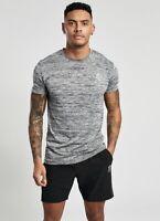 Gym King Mens New Short Sleeve Crew Neck T-Shirt Sport Grindle Tee Grey