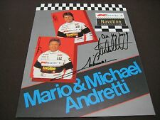 RACE DRIVING LEGENDS  MARIO & MICHAEL ANDRETTI AUTOGRAPHED SIGNED 8X10 PHOTO COA