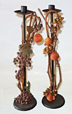 """Thanksgiving twig fruit & berries taper candle holders 18"""" tall vintage"""