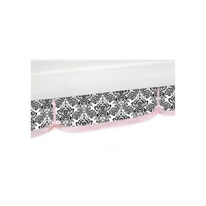 Sweet JoJo Sophia Black & White Twin Bed Skirt with Pink Bow Trim Bedskirt NEW