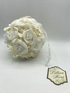 Lillian Rose Ivory Rose Flower Ball Wedding Pomander Ball Kissing Ball 7 inches