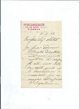 Lettera Autografo Scrittore ed Avvocato Giuseppe Odoardo Corazzini da Firenze