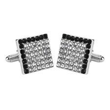 Silver and black square diamond cufflinks UK Seller Brand New