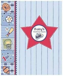 Baby's First Five Years | Blue Sports Theme | Keepsake Memory Book | Boy | NEW
