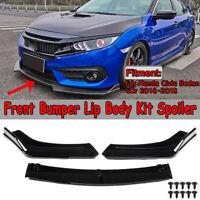 For 2016-19 Honda Civic SI Sedan Glossy Black Front Bumper Lip Body Kit Spoiler