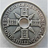 1935 NEW GUINEA, George V, Silver Shilling, grade VERY FINE. 3 different errors.