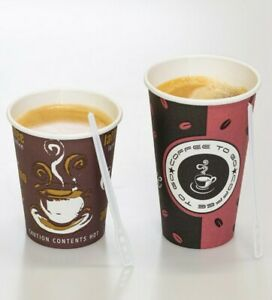 Coffee To Go Becher Kaffeebecher Pappbecher 200ml 300ml Deckel Rührstäbchen ⭐