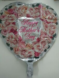 """20 pcs Happy Mothers Day Heart Shaped Roses Foil Balloon 17"""""""
