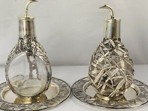 Pair 950 Sterling Silver Bamboo Overlay Japanese PInched Decanters Bottles Trays
