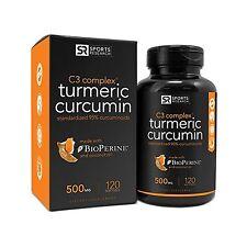Sports Research Turmeric Curcumin C3 Complex 500 Mg with 95% Cu... Free Shipping