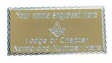 MASONIC GOLD CASE NAME PLATE DIAMOND CUT ENGRAVED WITH LODGE No & NAME