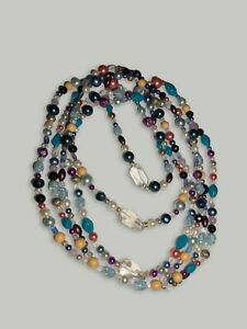 """Vintage 34"""" 1920's Flapper Costume Jewelry Crystal Beaded Three Strand Necklace"""