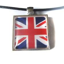 Union Jack British Flag Square Glass Tile Pendant With Necklace