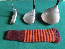 Knitted zebra style Fairway & Driver Golf Club head cover Maroon / Orange