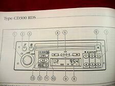 Vauxhall Audio SD 300 RDS PHILIPS  manual Radio Operation Instruction Book