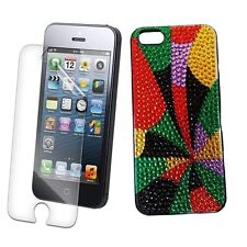 Iphone 5 5S 5G Colour Print Bling Rhinestone Diamond Crystal Diamonte Case UK